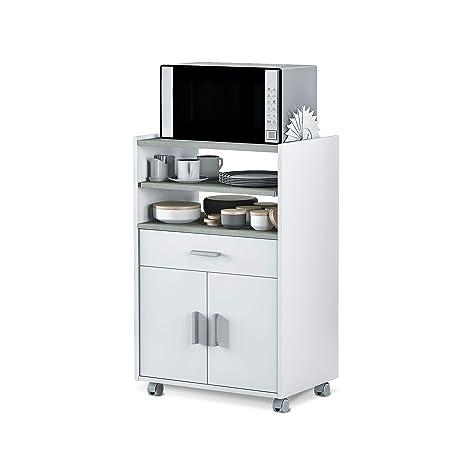 Habitdesign 0L9910O - Mueble auxiliar para microondas, mesa cocina con un cajón y dos puertas, color blanco y cemento, medidas: 92 x 59 x 40 cm de ...