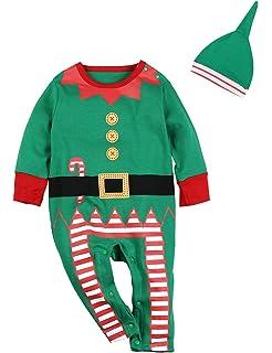 Amazon.com: Conjunto de vestido de elfo de Navidad para bebé ...