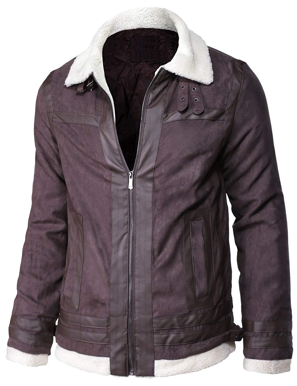 Hemskin Mens Aviator Shearling Collar Winter Bomber Faux Leather Jacket