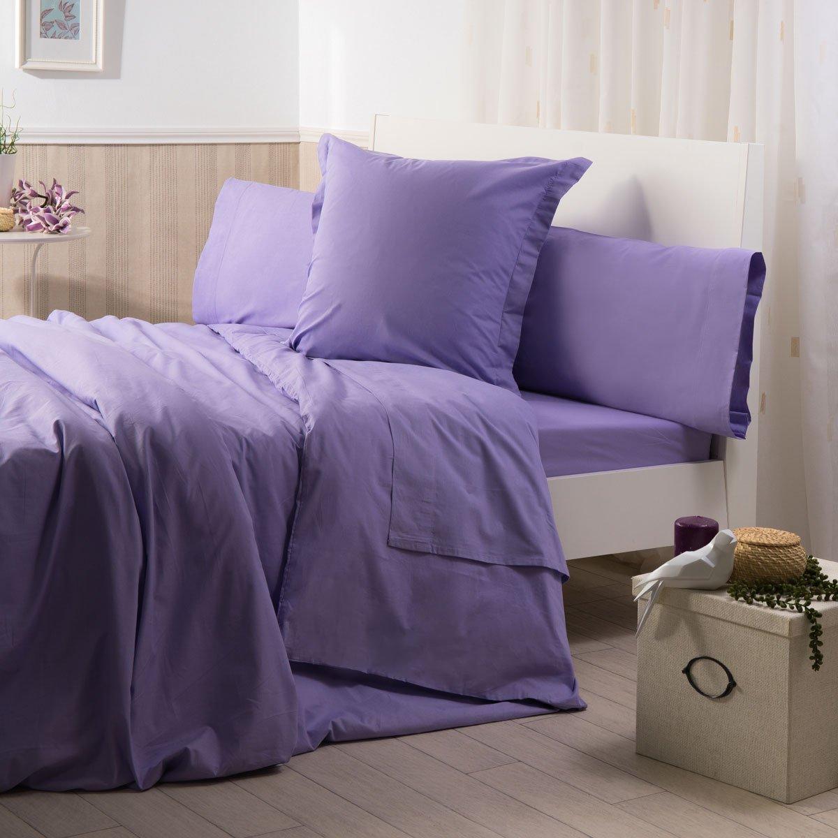 Sancarlos - Funda de almohada para cama, 100% Algodón percal, Color lila, Cama de 90 cm: Amazon.es: Hogar