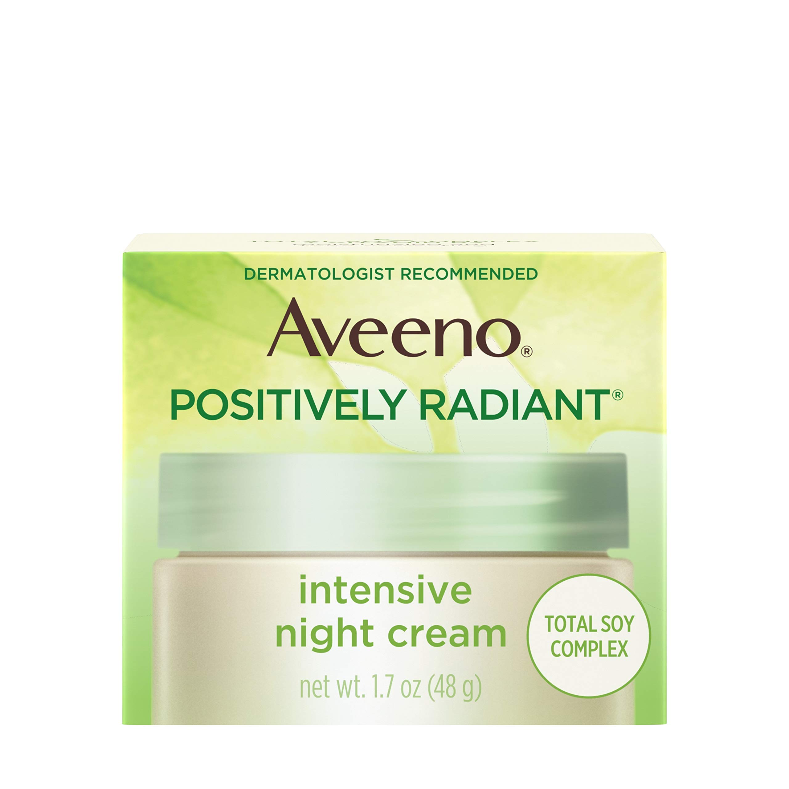 Aveeno Positively Radiant Intensive Moisturizing Night Cream with Total Soy Complex & Vitamin B3, Oil-Free, Non-Greasy, Hypoallergenic & Non-Comedogenic, 1.7 oz by Aveeno