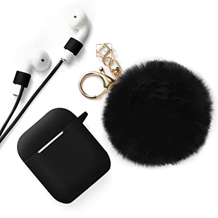 half off 85e50 a1cc2 ODUMDUM Apple AirPods Case, Cute Case Drop Proof (Silicone Skin Cover)  Fluffy Fur Ball Keychain Anti-Lost Strap Apple Wireless Headset, Gift  Girls, ...