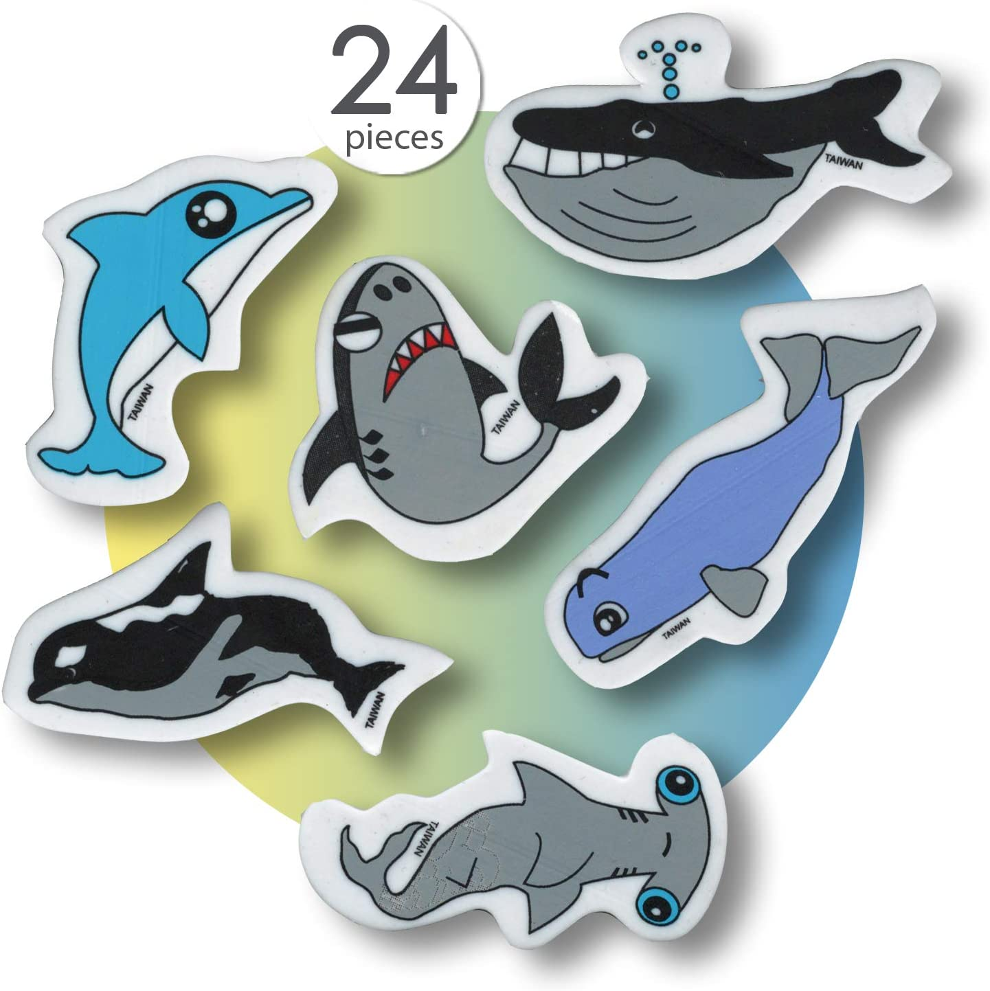 Fish Erasers for Kids Classroom Prizes Animal Erasers Pencil Eraser Prizes for Kids Classroom Cute Erasers Bulk Fun Erasers for School Cool Erasers Kids Erasers Novelty Erasers for Kids (24 Pcs)