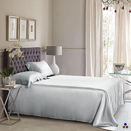 ElleSilk Pure Silk Flat Sheet, 25 Momme Silk Sheet, 100% Mulberry Silk Bed