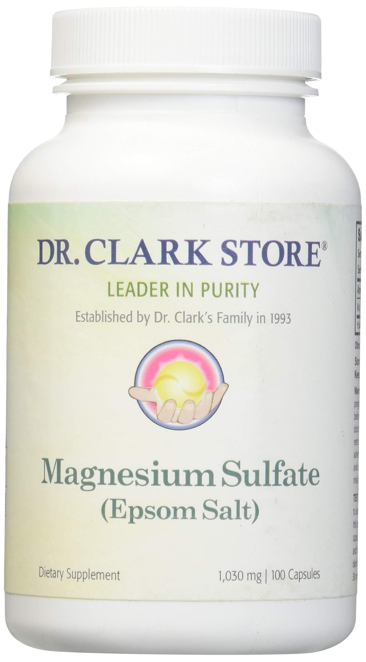 Magnesium Sulfate USP (Epsom Salts), Constipation Relief, 1030mg, 100 capsules