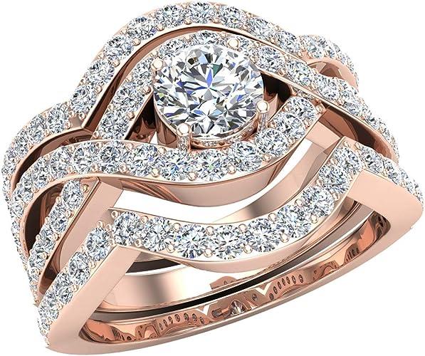 Women/'s 14K Rose Gold Finish 0.40 CT Round Cut D//VVS1 Diamond Wedding Band Ring