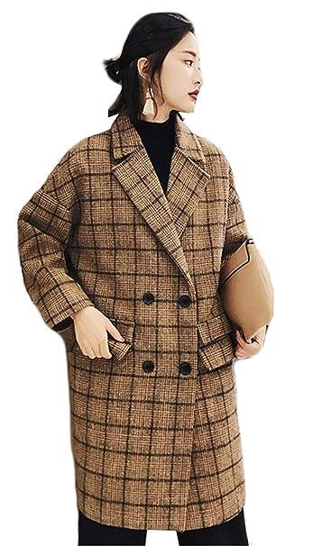 Adelina Abrigo Mujer Largos Vintage A Cuadros Fashion Outerwear Elegantes Manga Larga De Solapa Retro Doble Botonadura Anchas Casual Otoño Invierno Chaqueta ...
