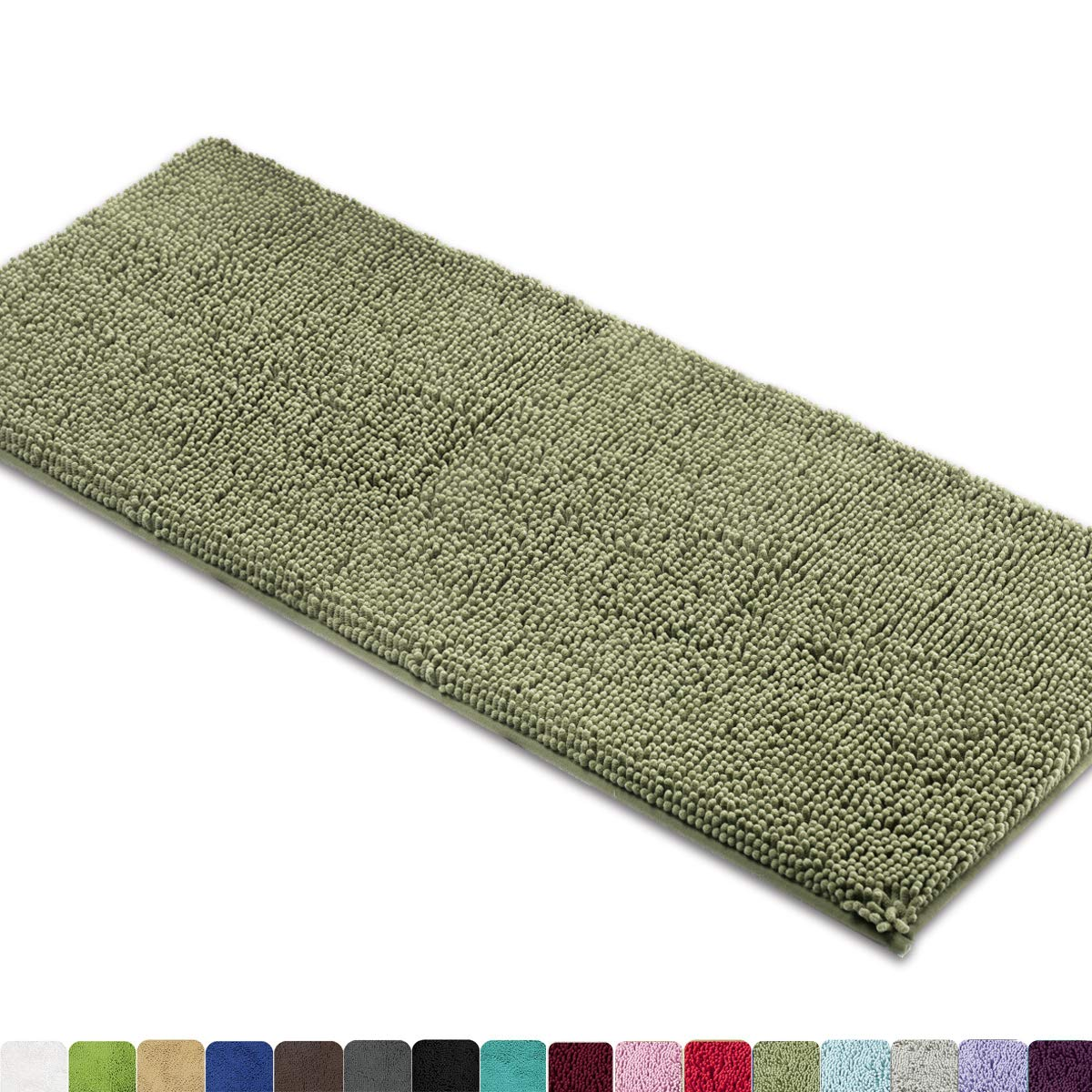MAYSHINE Bath mat Runners for Bathroom Rugs,Long Floor mats,Extra Soft, Absorbent, Thickening Shaggy Microfiber,Machine-Washable, Perfect for Doormats,Tub, Shower (27.5x47 inches, Sage Green) by MAYSHINE (Image #1)