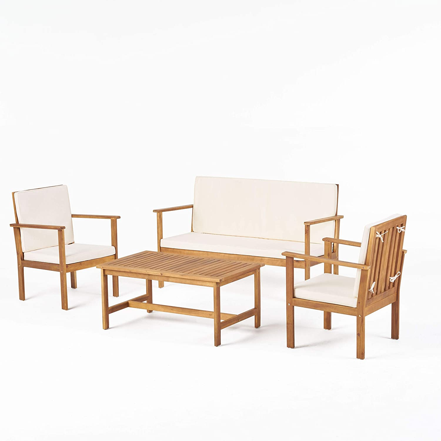 Christopher Knight Home Luciano Outdoor Chat Set, 4-Pcs Set, Brown Patina