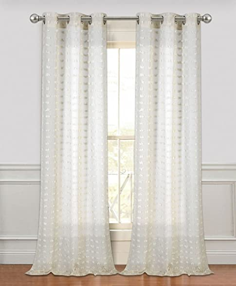 Bed Bath Outlet Set Of 2 Extra Long 96u0026quot; Linen Look Flower Puff Semi  Sheer