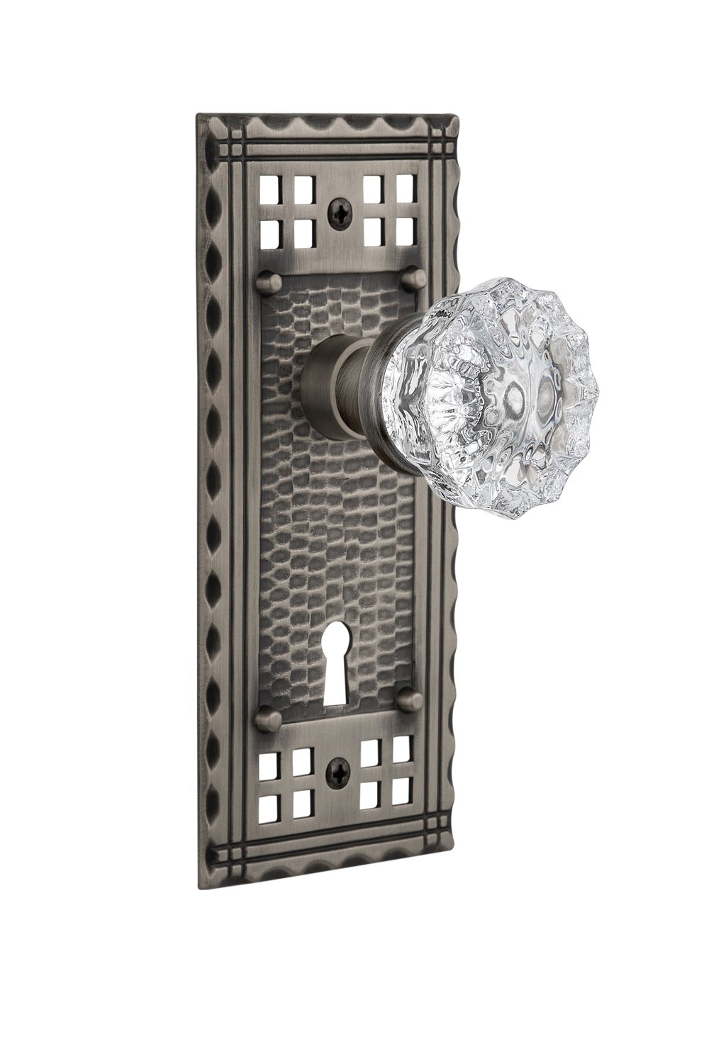 2.25 715742 Antique Brass Mortise Nostalgic Warehouse Craftsman Plate with Keyhole Crystal Glass Knob 2.25 Mortise