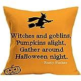 Gotd Halloween Pillows Cover Decorations Decor Halloween Throw Pillow Case Sofa Waist Throw Cushion Cover Home Decor Square 45 x 45cm 18 x 18inch (01)