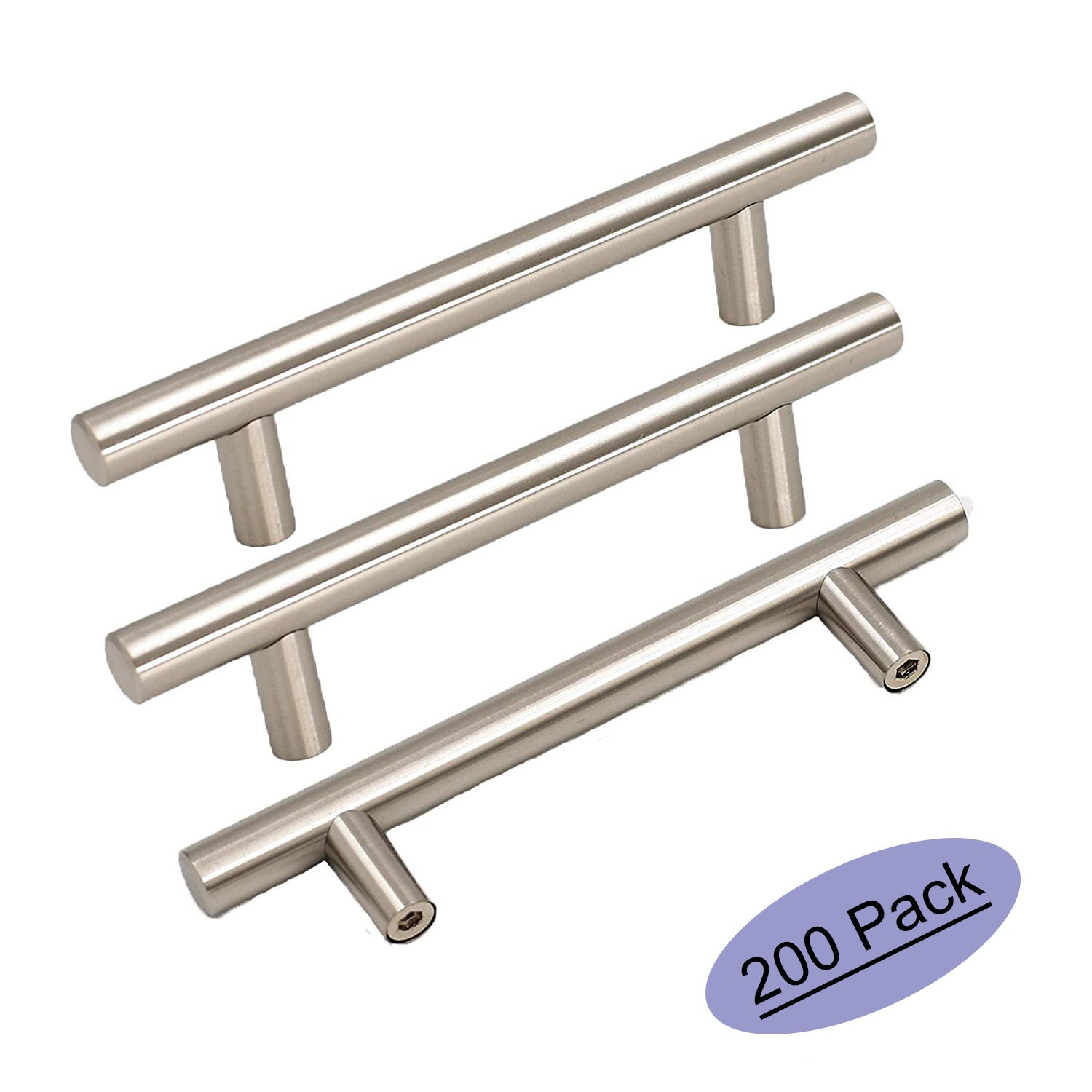 200Pack Goldenwarm Stainless Steel Kitchen Hardware Cabinet Handles and Knob Brushed Nickel T Bar Modern Door Drawer Pull Knobs Hole Spacing 90mm 3-1/2in Overall Length 6in