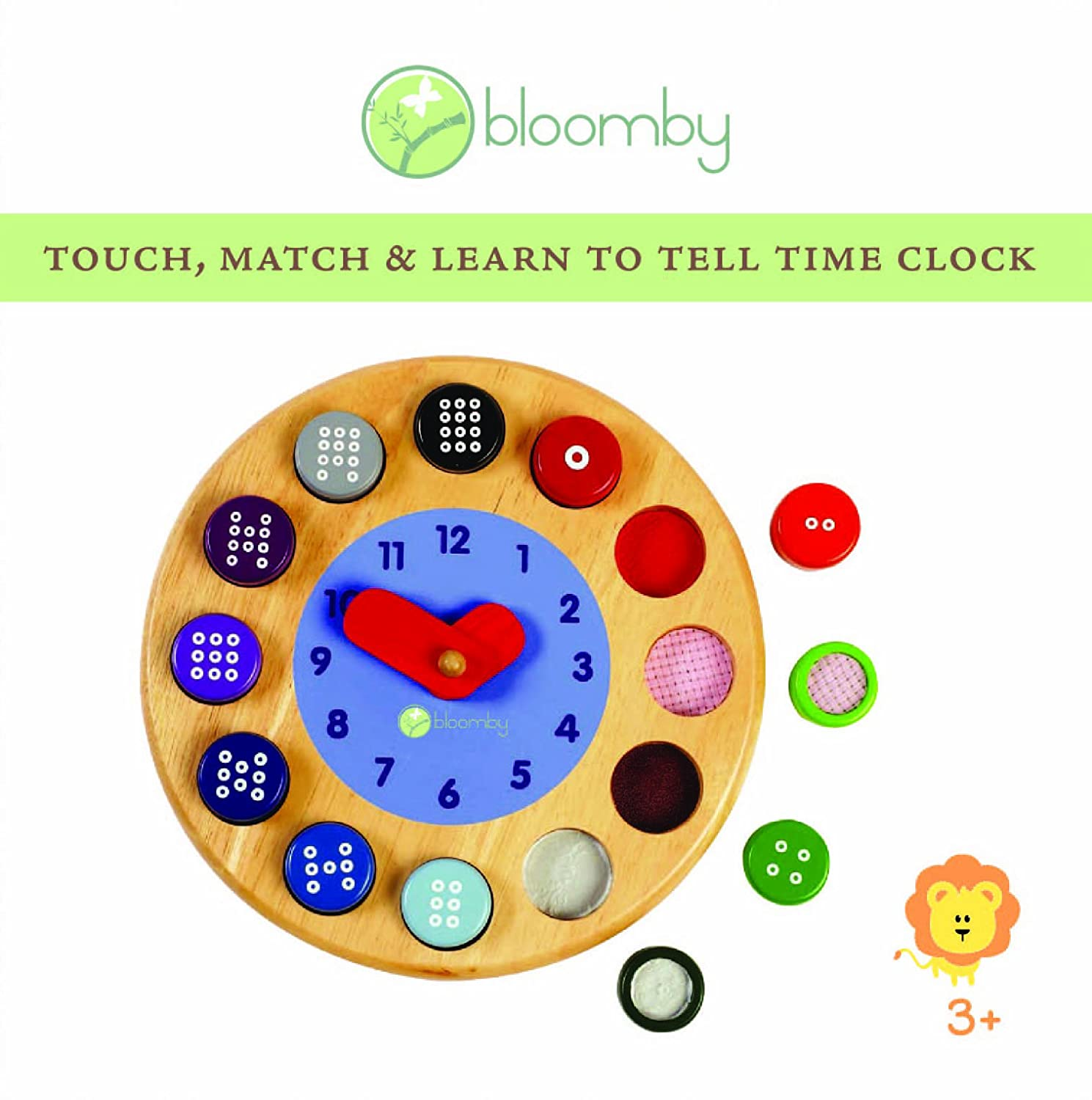 Amazon Com Bloomby Touch Match And Learn To Tell Time Clock Wooden