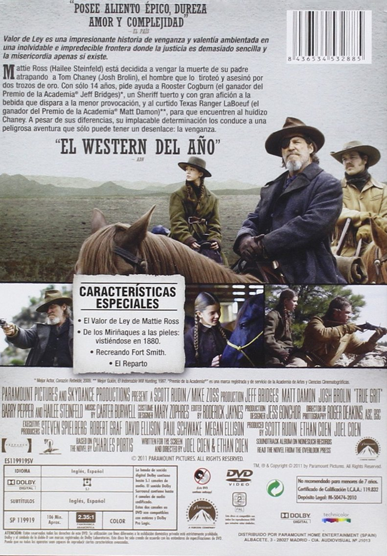 Amazon.com: TRUE GRIT (Valor de ley) Region 2 - PAL - Jeff Bridges: Movies & TV