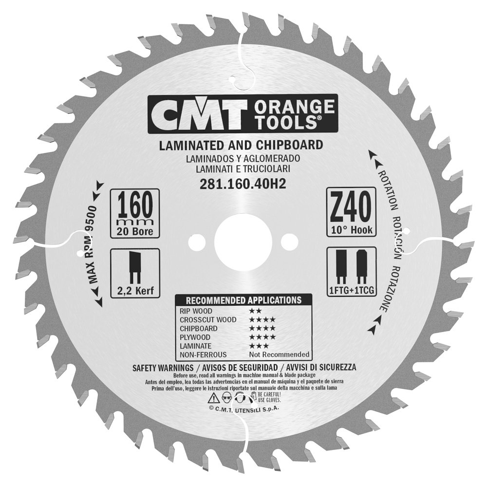 CMT 281.160.40h2 – Trapezoidal Tooth Blade HW 160 X 2.2/1.6 x 20 + 2/6/32 Z40 10TCG CMT ORANGE TOOLS