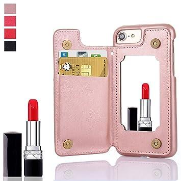 3a923869c0 Tustyle iPhoneケース ミラー付き 手帳型通用カバー 鏡付き カード収納 高級PU レザー