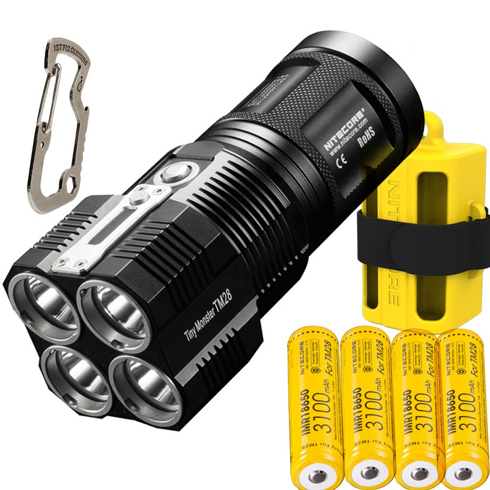 NITECORE TM28 4CREE XHP35 HI max.6000LM beam distance 655meter LED outdoor flashlight + 4pcs 18650 3100mAh li-ion batteries