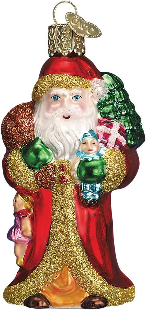 Old World Christmas Assortment of Santas Glass Blown Ornaments Tree Father Christmas W/Gifts