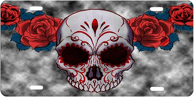Dqvwgk Sugar Skull Red Owl And Rose Tattoo Custom Aluminium License Plate Frames For Car License Plate Cover With 4 Holes Car Tag 6 X 12 Sport Freizeit