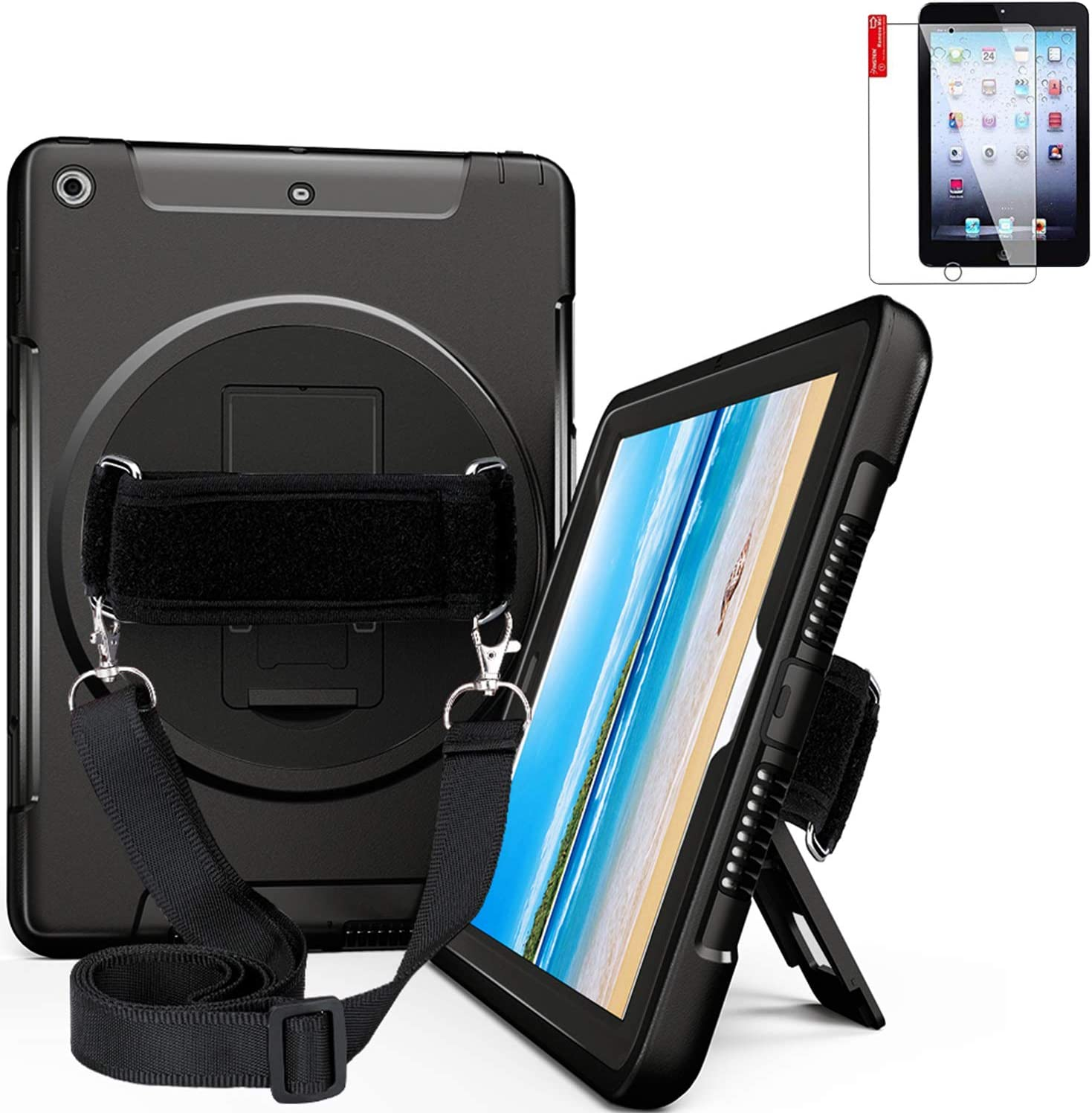 NEWQIANG iPad Air 2 Heavy Duty Full-Body Rugged Case with Screen Protector - Hand Strap,Shoulder Strap,Hardback, 360 Rotatable Kickstand, Shockproof - A1566 A1567 MGKL2LL/A (Black)