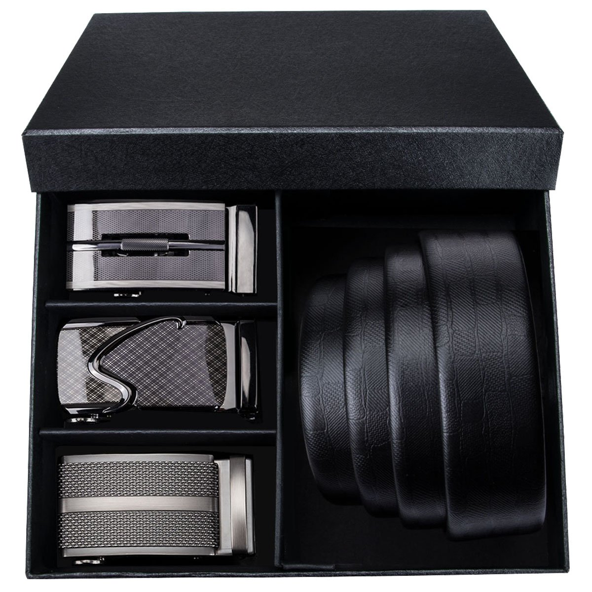 Barry.Wang Mens Leather Belt Black Ratchet Belt with 3 Automatic Buckles Adjustable Strap Gift Box