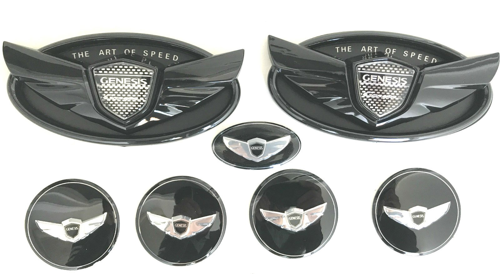 Exotic Store 7 Pieces 2010-2017 Fit for Black Hyundai Genesis ''ART OF SPEED''Coupe Chrome Black WING Logo Front+ Trunk+ Steering wheel+ Rim center Caps Stickers TURBO Kit Emblem Badges (BLACK)