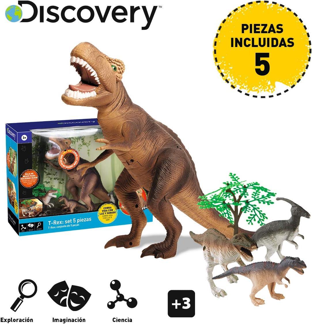 Discovery-T Set de 5 Piezas, Juego niños, Animales plastico, tiranosaurio, Dinosaurio Juguete, indominus Rex, Color marrón, (6000102)