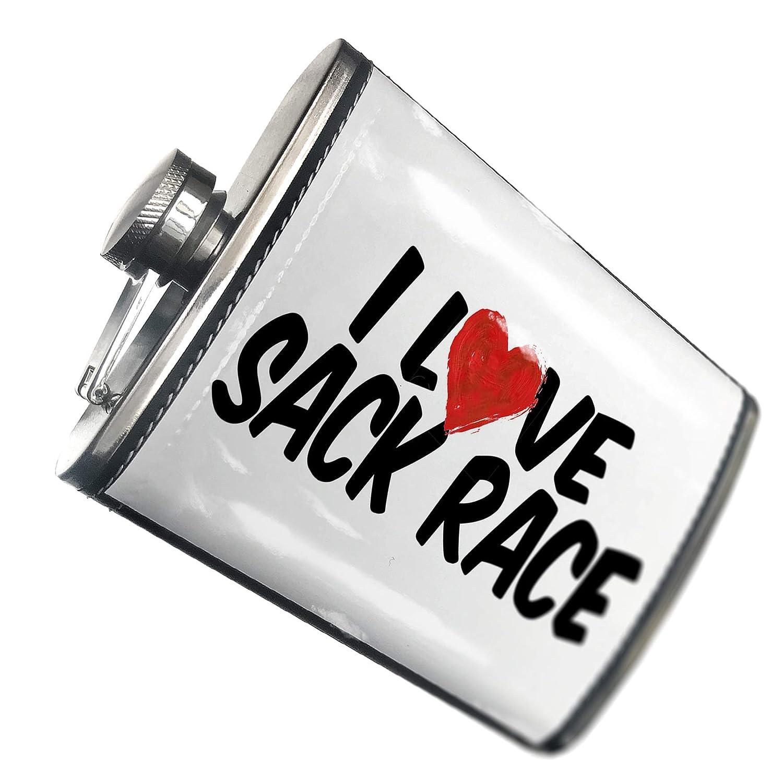 8オンスフラスコステッチI Love sack raceステンレススチール – Neonblond   B00QQVG9T8