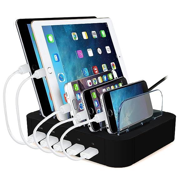 ACTOPP Estación de Carga USB 5 Puertos Base de Carga Universal Cargador Inteligente Organizador de Cables Soporte de Carga Desmontable 2 Quick Charge ...