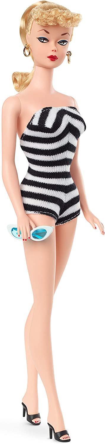 Barbie Signature Mattel 75th Anniversary Doll, Original 1959 Doll Reproduction in Black and White Swimsuit, with Wrist Tag, Gift for Collectors