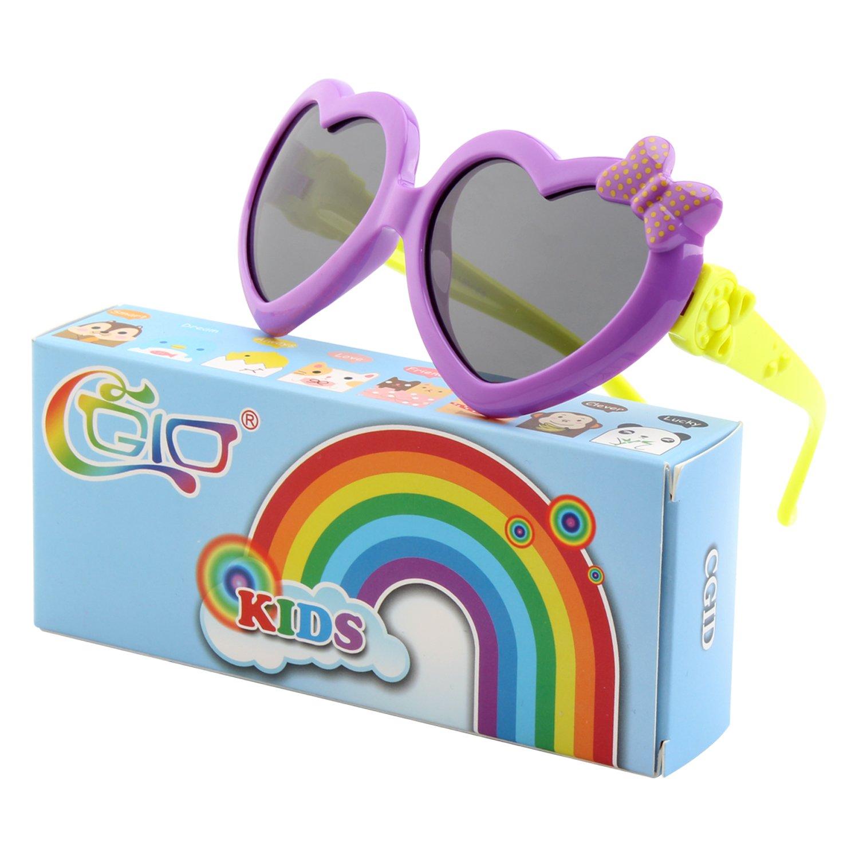 CGID Soft Rubber Kids Girls Heart shaped Polarized Sunglasses for Children, K78 18USET878-7