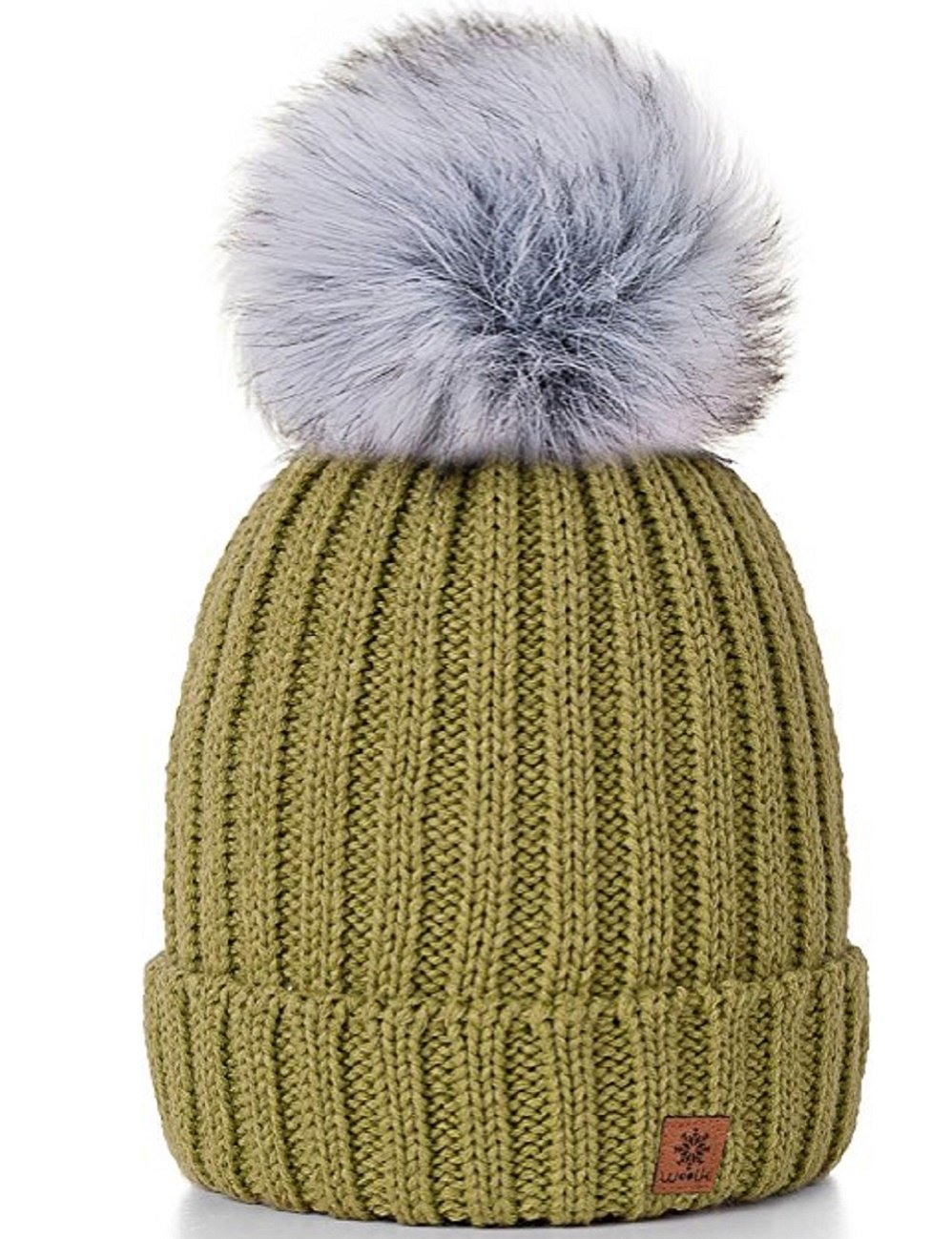 4sold Rita Womens Girls Winter Hat Wool Knitted Beanie with Large Pom Pom Cap Ski Snowboard Hats Bobble