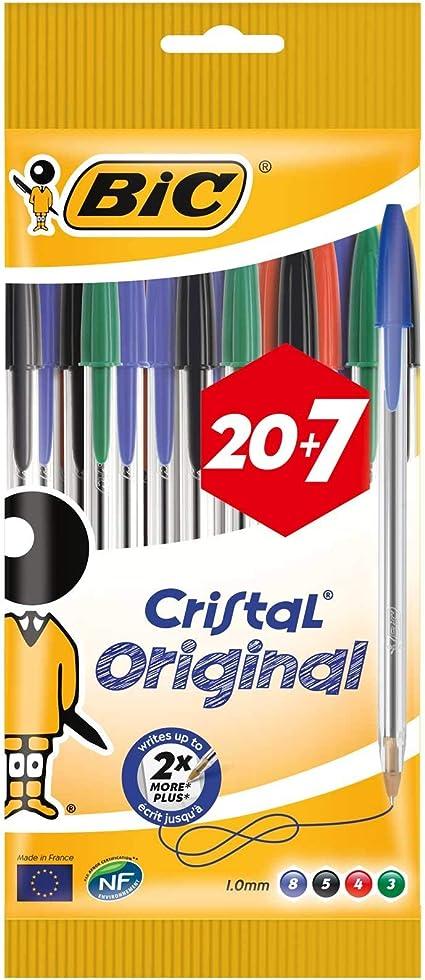 BIC Cristal Original - Bolígrafos punta media, 1.0 mm, Blíster de 20+7, colores Surtidos: Amazon.es: Oficina y papelería