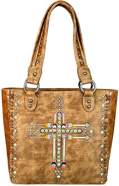 0a1d6a7c2f41 Montana West Purses Western Arrows and Cross Tote Bag Handbags MW606-8305  (Brown)