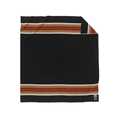 Pendleton Acadia National Park Warm Wool Striped Throw Blanket, Black, Queen
