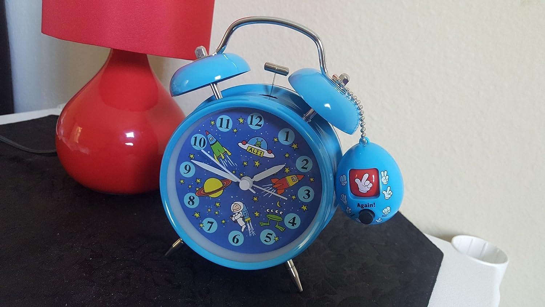 Yatow Cute Childrens Alarm Clock 4 Twin Bell Wake Up Alarm Clock Nightlight Silent Best Kids Present