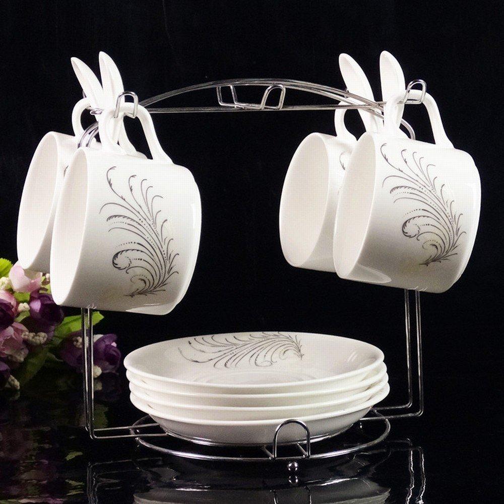 DHG European Ceramic Coffee Mug Set High-Grade Phnom Penh Creative Set of 4 Bone China Coffee Cup Saucer with Shelf,C