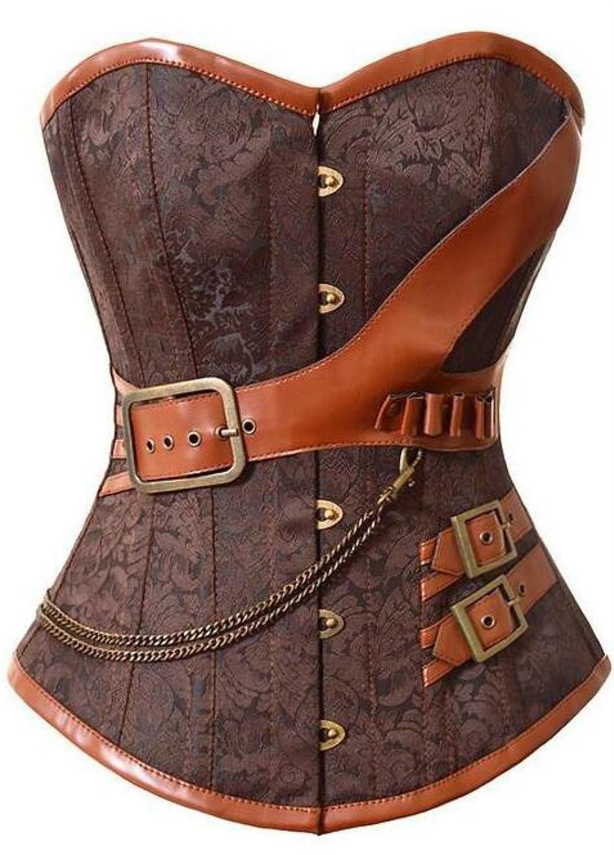 09cce9f618f0d KuSen Damen Vintage Vollbrust braun Faux Leder Steampunk Corsage Korsett  Dessous Übergrößen Heißer Verkauf