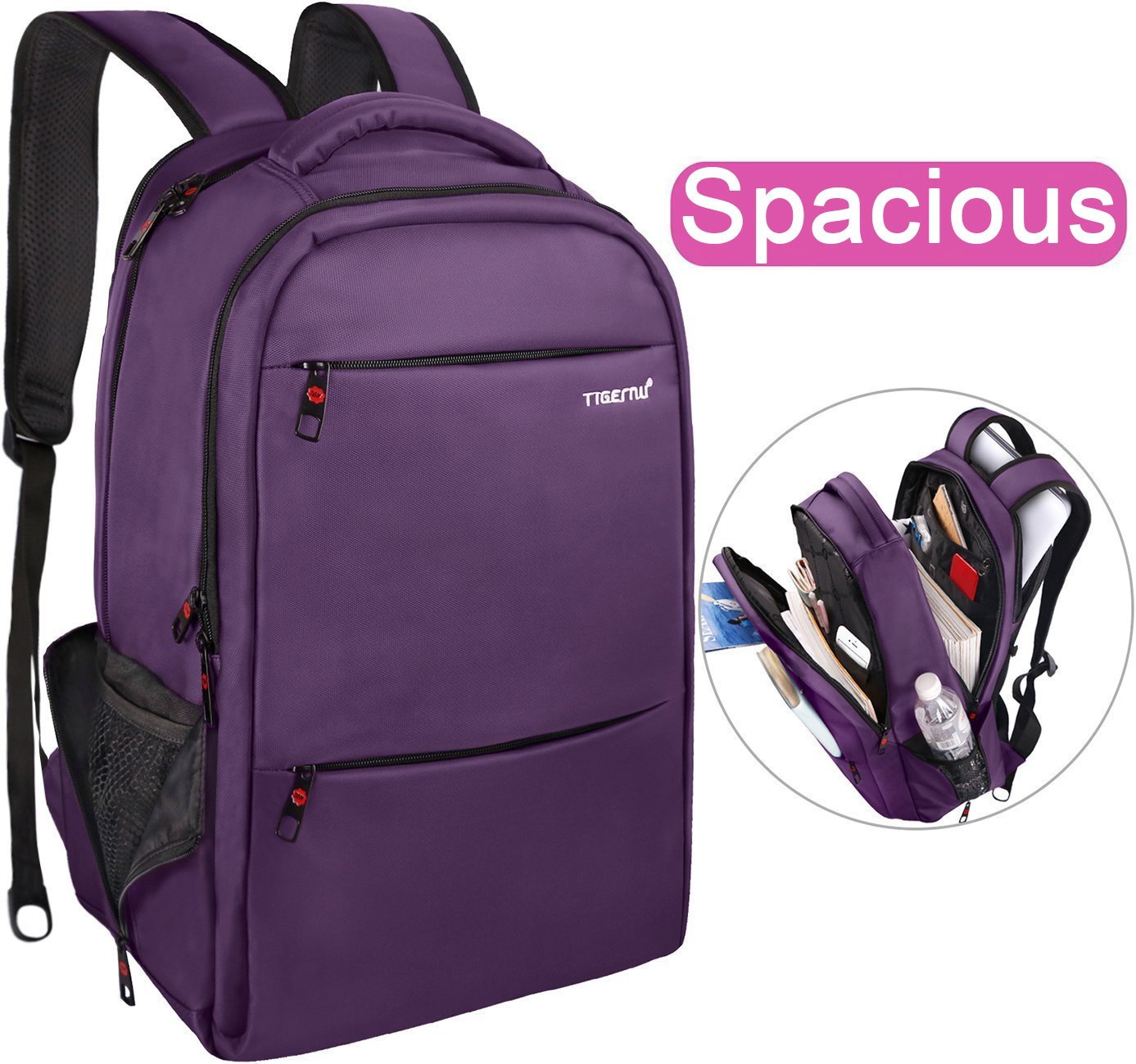 LAPACKER 15.6-17 inch Business Laptop Backpacks for Women Mens Water Resistant Laptop Travel Bag Lightweight College Students Notebook Computer Backpack - Purple Tigernu leather co. ltd KKpack10