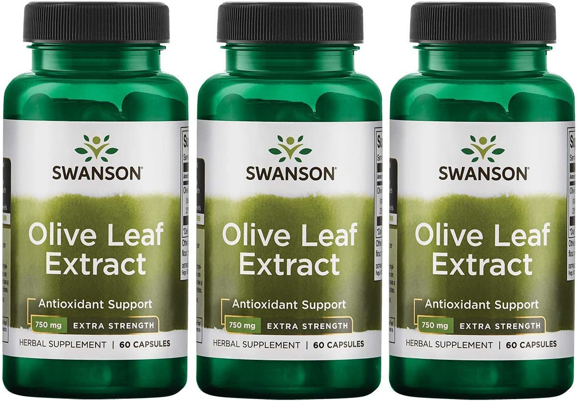Swanson Olive Leaf Extract Super Strength 750 Milligrams 60 Capsules 3 Pack