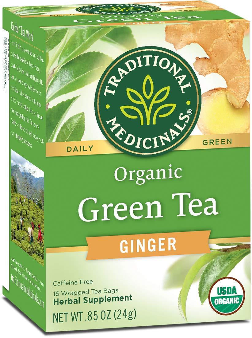 Traditional Medicinals Organic Green Tea Ginger, 16 Tea Bags (Pack of 6)