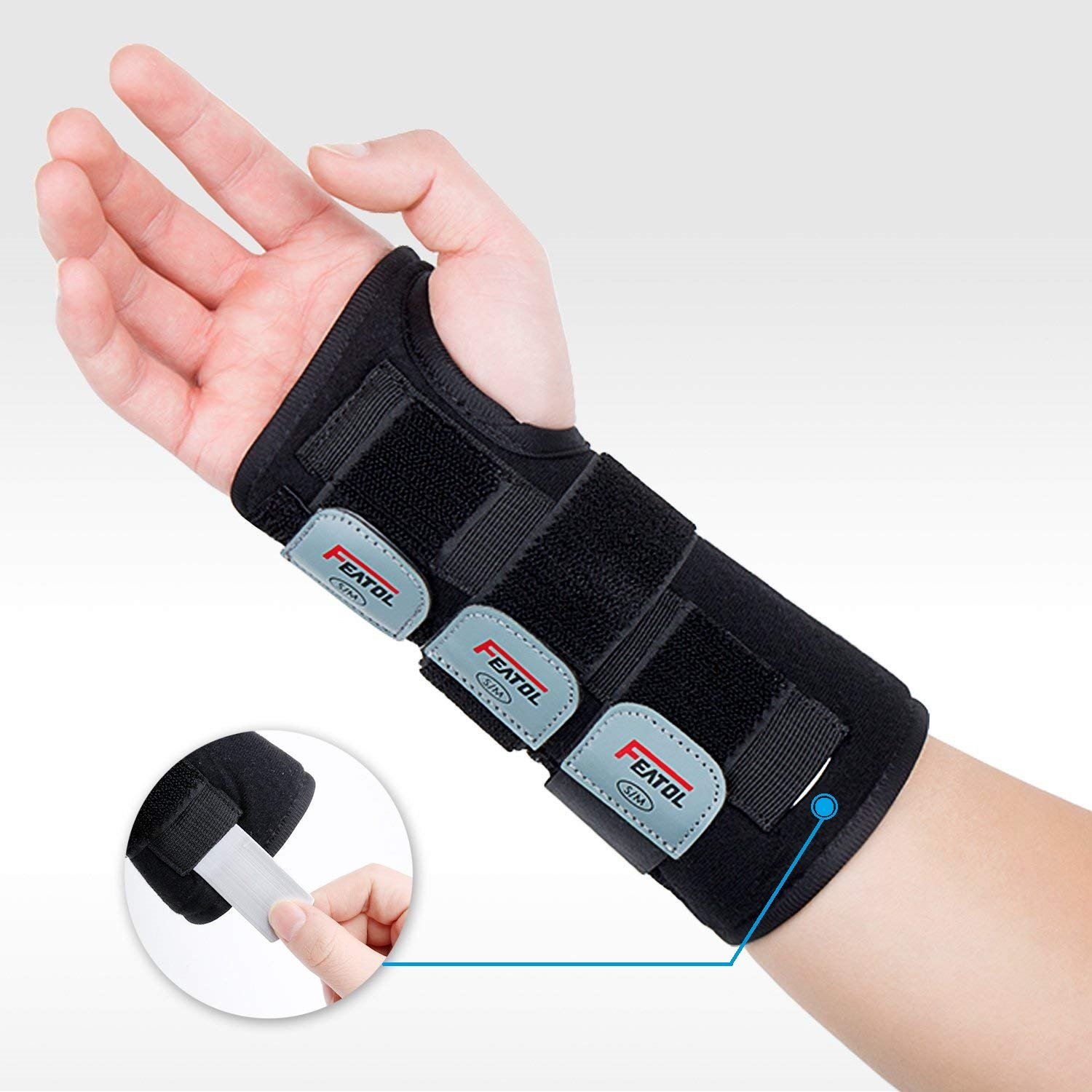 Featol Adjustable Wrist Support Brace with Splints for Carpal Tunnel, Injuries,Wrist Pain, Sprain (S/M, Right)