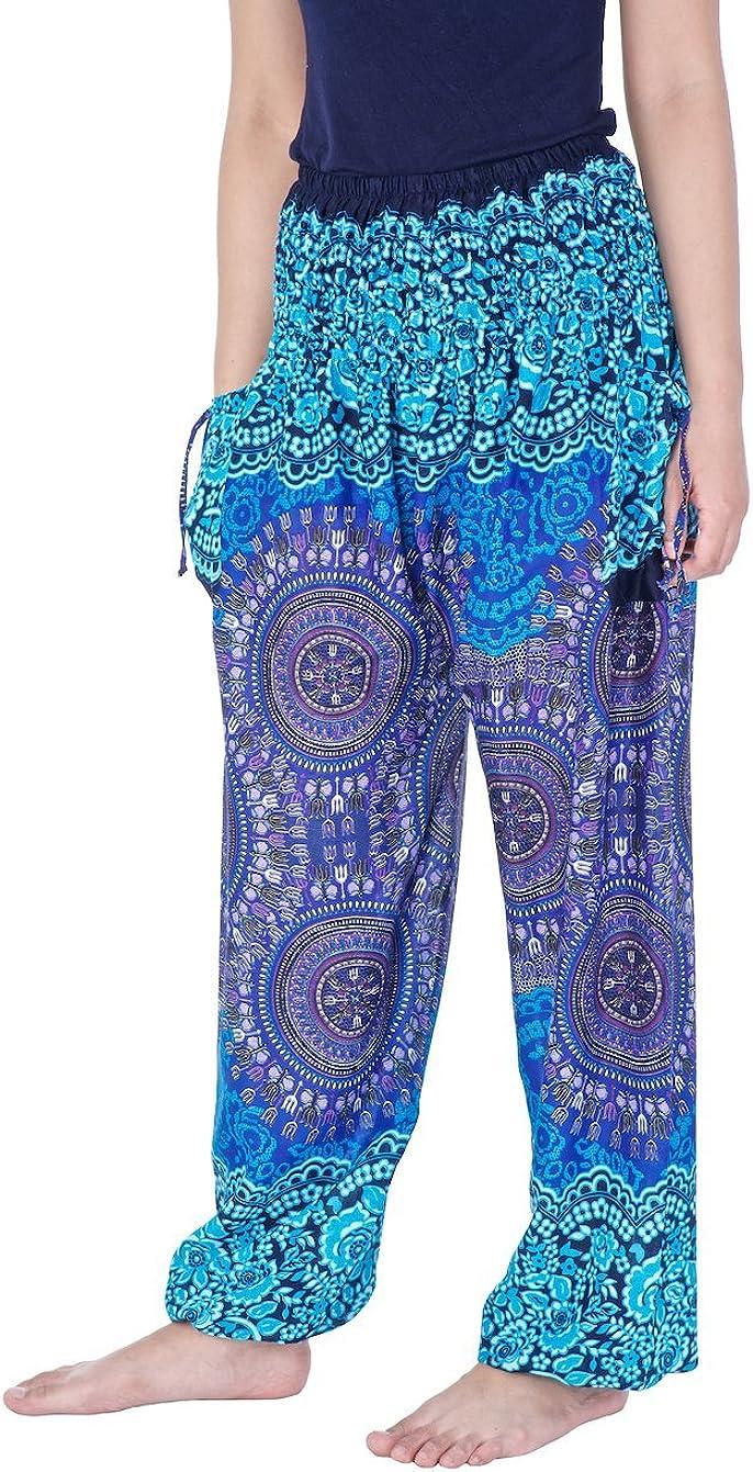 Lannaclothesdesign Womens Smocked Waist Printed Loose Fit Yoga Harem Pants