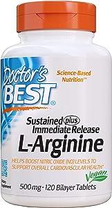 Doctor's Best Sustained Plus Immediate Release L-Arginine, Non-GMO, Vegan, Gluten Free, Soy Free, 500 mg, 120 Bilayer Tablets