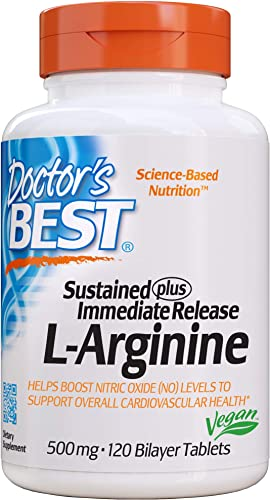 Doctor s Best Sustained Plus Immediate Release L-Arginine, Non-GMO, Vegan, Gluten Free, Soy Free, 500 mg, 120 Bilayer Tablets