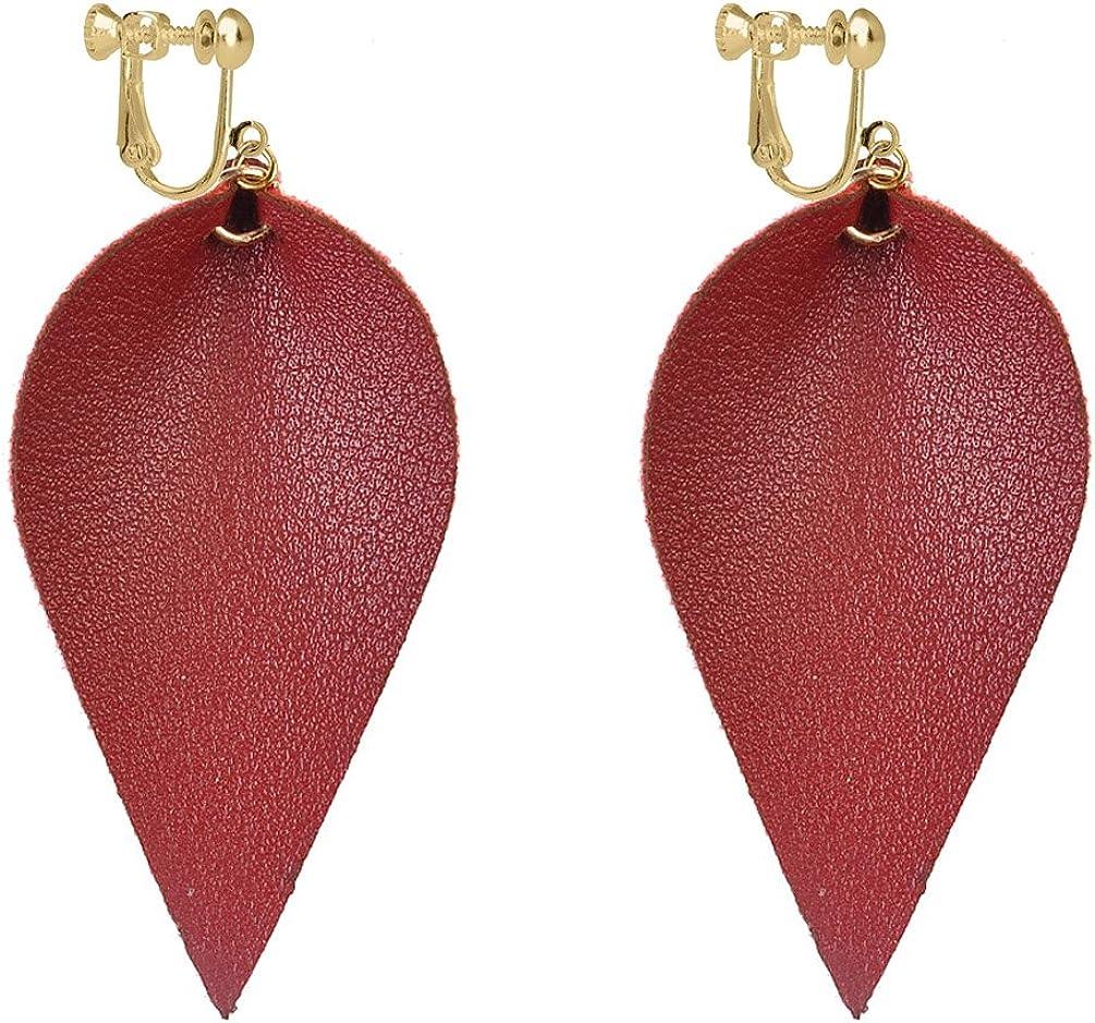 Leaf Faux PU Leather Clip...