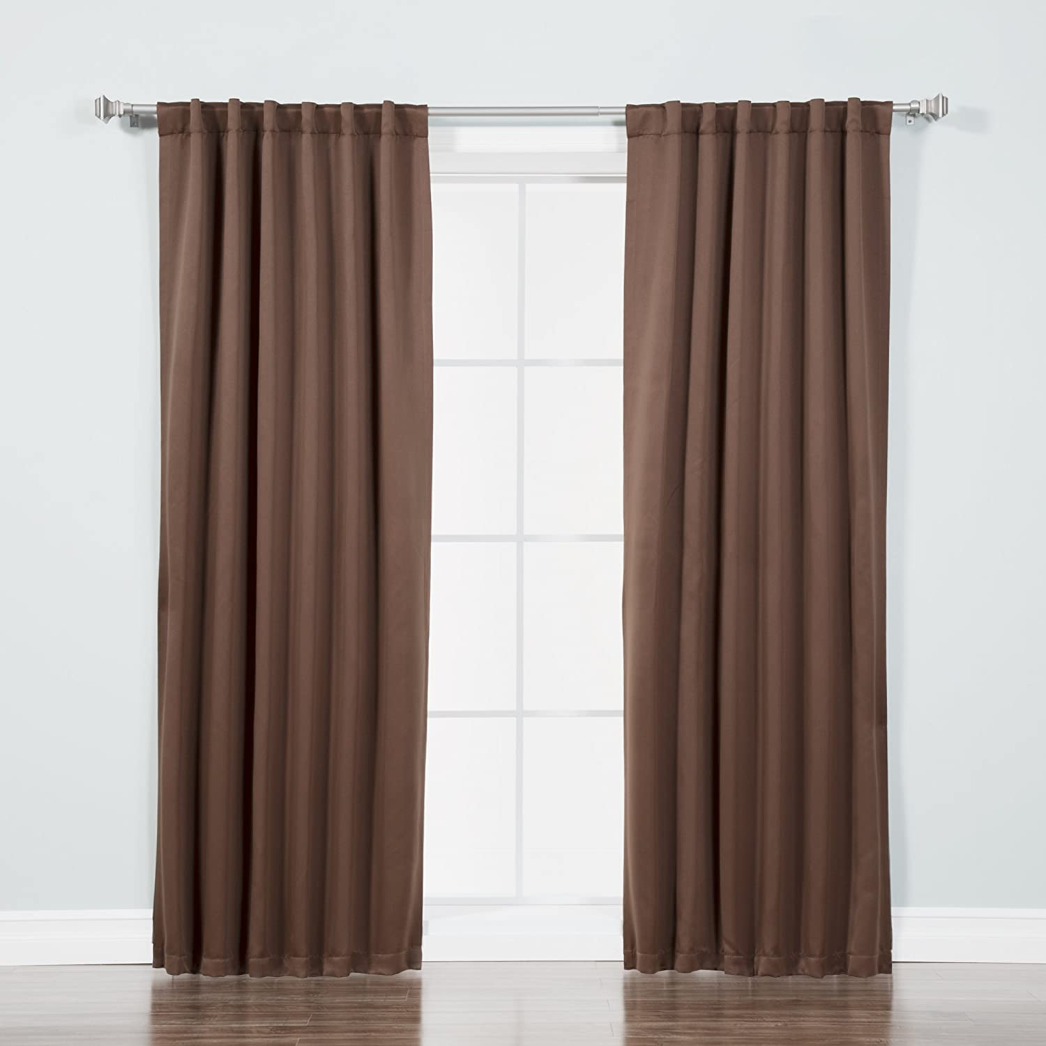 "Best Home Fashion Basic Thermal Insulated Blackout Curtains - Back Tab/Rod Pocket - Chocolate- 52"" W x 84"" L – (Set of 2 Panels)"