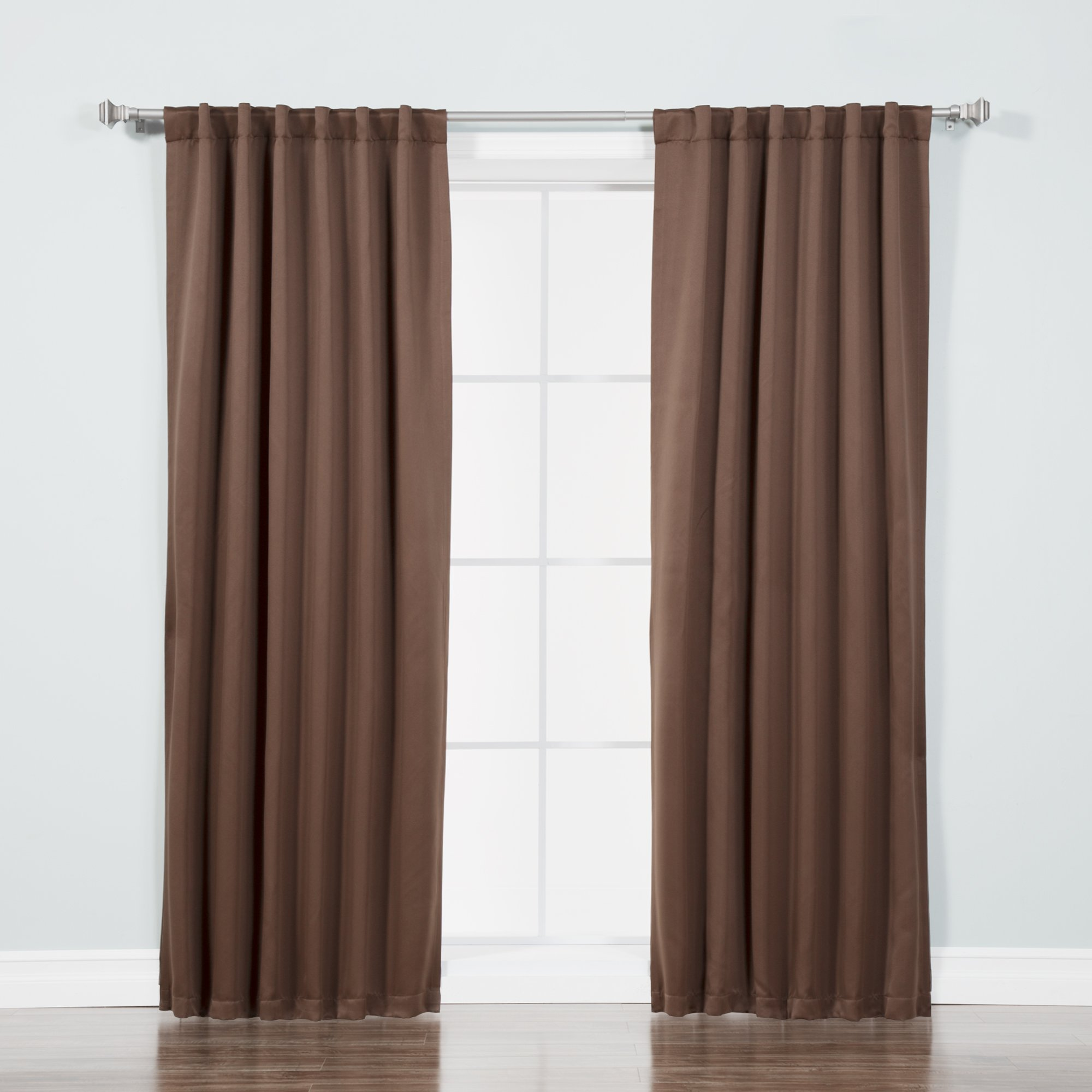Best Home Fashion Thermal Insulated Blackout Curtains - Back Tab/Rod Pocket - Chocolate - 52'' W x 72'' L - (Set of 2 Panels)