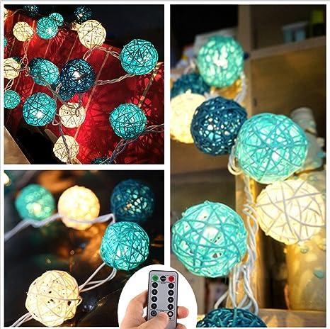 20 LED Boule de Rotin Ball Guirlandes Lumineuses Chambre Batterie Blanc  Chaud Décor Pour étonnement Proposer c8a23fe69d15